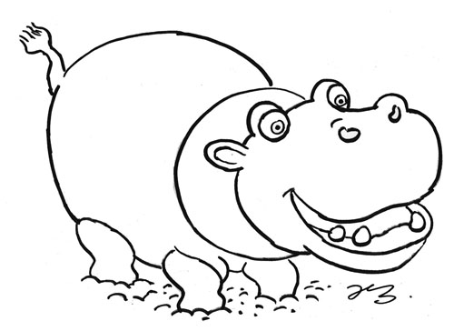 Hippo Colour-In