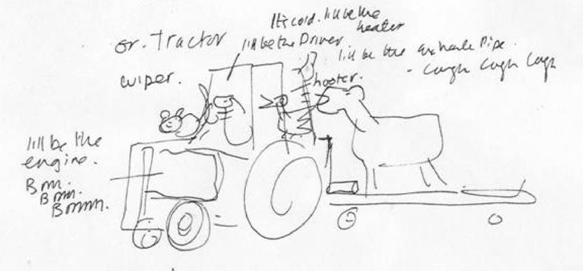 Gobble Gobble Moooooo Early Sketch